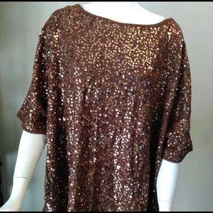 Brown DIANE GILMAN Sequin Sweater Shirt Top